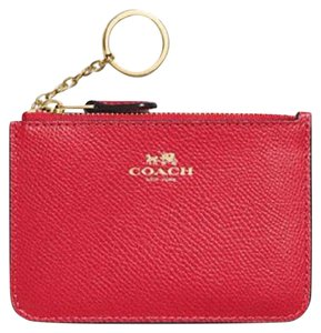 Coach Coach F64064 Key Pouch Wallet coin Crossgrain Leather True Red NWT