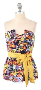 Anthropologie Pleated Floral Tie-waist Strapless Top Vibrant