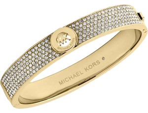 Michael Kors Nwt Boxed Gold-Tone Crystal Pave Logo Bangle Bracelet