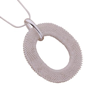 Hijinks Silver-plated mesh oval necklace with additional free gift