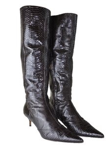 Dolce&Gabbana Dolce & Gabbana Snakeskin Knee High Pointed Toe Size 41m 2 Inch Heel Brown Boots