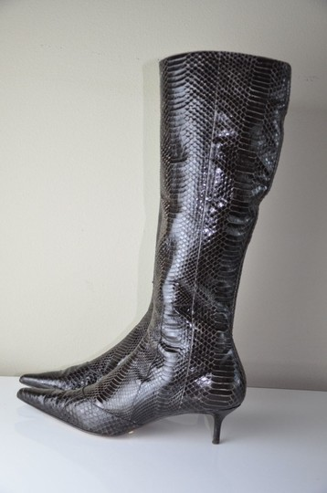 Dolce&Gabbana Dolce Gabbana Snakeskin Knee High Pointed Toe Size 41m 2 Inch Heel Brown Boots