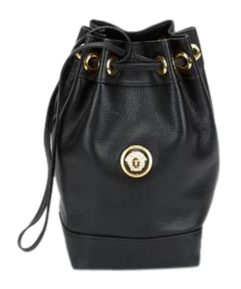 be1782c3f0e0 Versace Vintage Medusa Head Bucket Black Leather Shoulder Bag - Tradesy