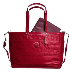 Coach Patent Leather Signature Diaper Laptop Messenger Tote in Red