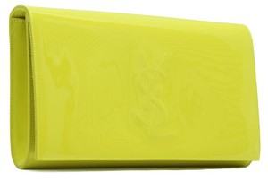 Saint Laurent Ysl Patent Leather Funky Yellow Clutch