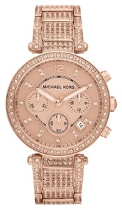 Michael Kors $380 NWT Chronograph Parker Rose Gold-Tone Watch MK5663