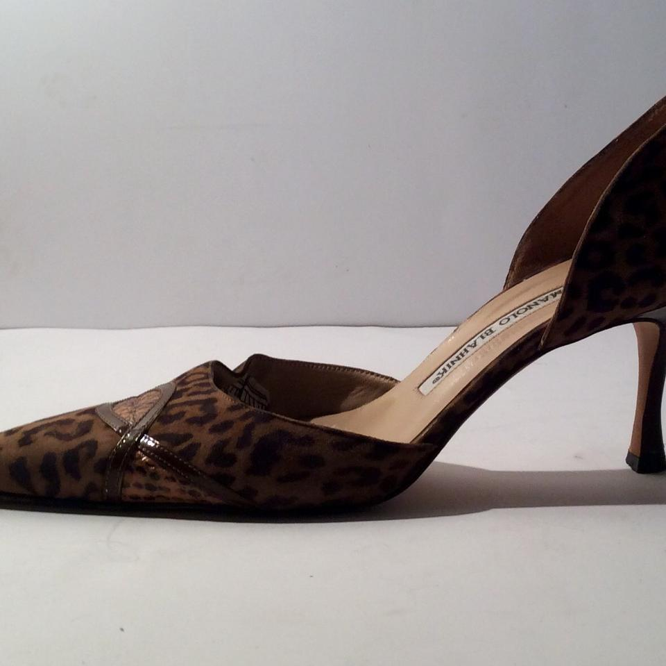 ac39245fef3 Manolo Blahnik Brown Leopard Print Suede with Snake Skin Pumps Size US 8.5  Regular (M, B)