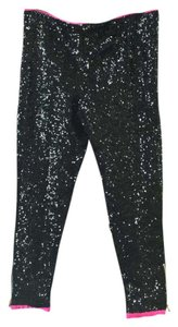 One Teaspoon Sequin Free People Zippered Capri/Cropped Pants Black and Pink