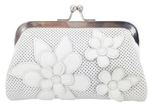 Isabella Fiore Flower Perforated Leather Frame Kiss Lock White Clutch