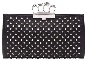 Alexander McQueen Studded Crystal Swarovski Knuckle Black Clutch