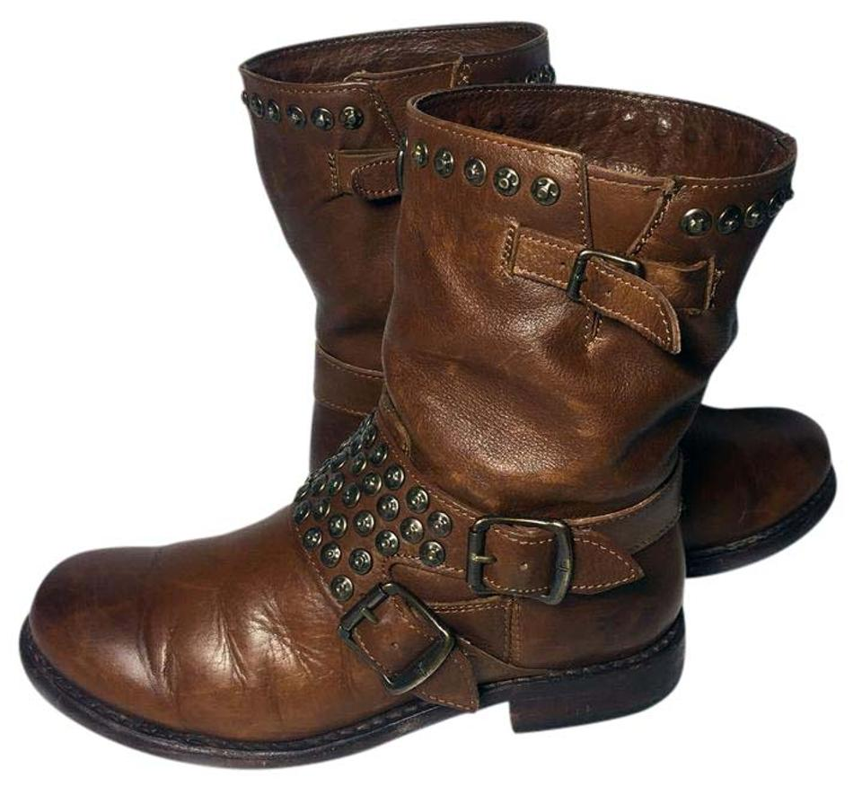 Frye Brown 76795 Jenna Studded Short Leather Motorcycle Boots