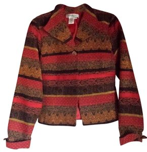 Coldwater Creek Striped Orange Brown Red Black Gold Jacket