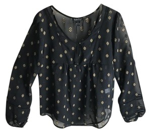 Lucky Brand Boho Top Black and Gold Print