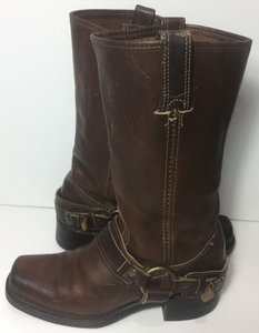 Frye 77250 Belted Harness Motorcycle Women 7 Brown Boots