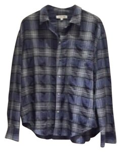 Elizabeth and James Button Down Shirt blue plaid