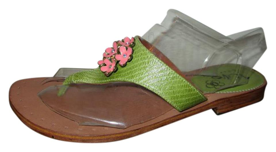 340df3ac4 Green   Pink Juno Girl Leather Thong Sandals Size US 8 Regular (M
