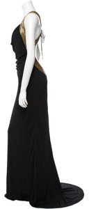 Roberto Cavalli Maxi Gown Size 44 Black With Gold Beading Dress