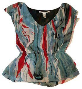 Diane von Furstenberg Watercolor Print Abstract Print Nahla Romantic Feminine Top Blue Red White
