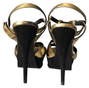 Saint Laurent Gold Eel & Black Suede Platforms