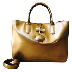 Longchamp Brown Patent Leather Roseau Tote in Bronze