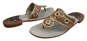 Jack Rogers 8 Flats Gold ~ Rust Brown Sandals