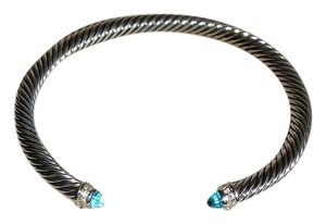 David Yurman David Yurman Classic Cable Sterling Silver Blue Topaz Diamond Bracelet