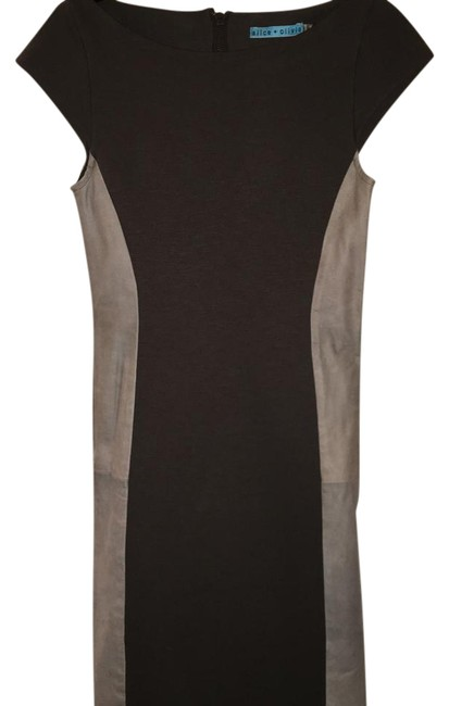 Item - Green Gray Leather Short Work/Office Dress Size 4 (S)