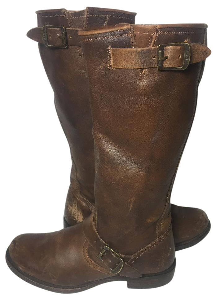 Frye Brown Motorcycle 77605 Veronica Slouch Leather Motorcycle Brown Boots/Booties b5ca7b