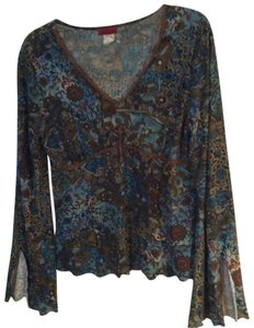 New Identity Leather Longsleeve V-neck Casual Vintage Top Multi-color - (Brown/Teal)