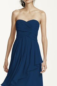 David's Bridal Marine Short Crinkle Chiffon Dress Dress