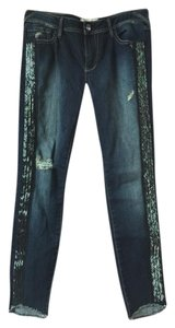 Free People Beaded Embellished Tuxedo Distressed Denim Skinny Jeans-Distressed