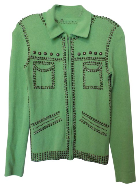 Item - Green Couture Studded Winged Skull Cardigan Size 6 (S)