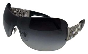 BVLGARI New BVLGARI Sunglasses 6071-B 102/8G Silver-Black Shield w/ Crystals