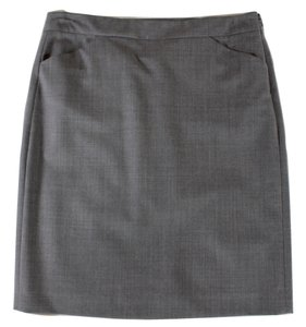 Theory Pencil Wool Skirt Gray