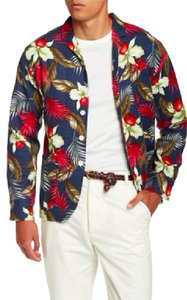 Max and Chester Men's Floral Flax Navy Flower Blazer