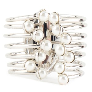 Dior Christian Dior Silver & Pearl Caged Cuff Bracelet