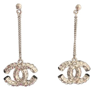 Chanel NEW Dangle Chanel Earrings silver with crystals