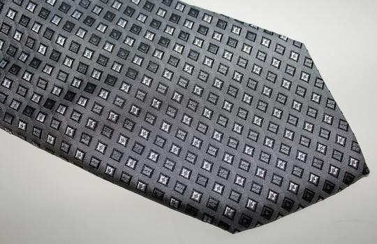 Giorgio Armani $275 Giorgio Armani Men's Gray Geometric Pattern, European Designer Necktie Tie, Silk, Made In Italy