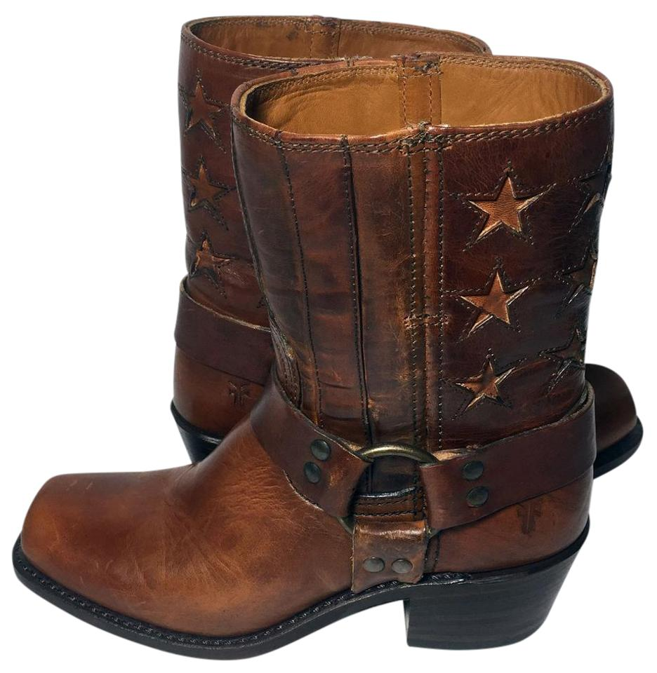 Frye Brown 75157 Harness American Short Motorcycle Women Boots