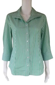 Talbots Striped Cotton Stretch 3/4 Sleeves Button Down Shirt Green