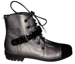 Chanel Buckled Silver Combat Dark Silver/Black Boots