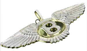 Other Sterling Silver Yellow Gold Finish Real Diamond Bentley Flying Pendant