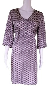 Boden short dress Gray, Purple. Silk Empire Floral on Tradesy
