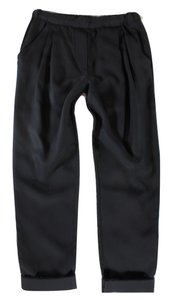 3.1 Phillip Lim Silk Pleated Cropped Relaxed Pants Black