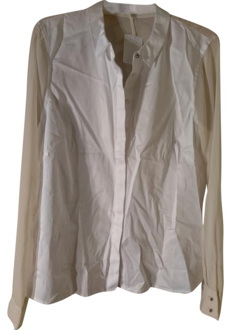Item - White Creme With Sheer Back Blouse Size 14 (L)