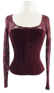 Moda International Steam Punk Lace Top Burgundy