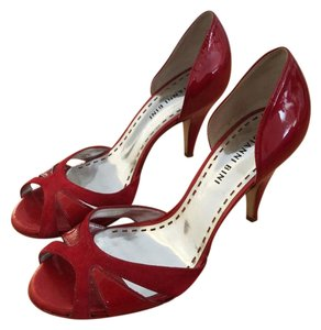 Gianni Bini Patent Leather Suede Peep Toe Pinup Red Pumps