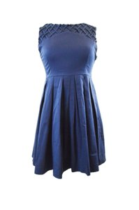 Dear Creatures short dress Navy Blue Anthropologie Modcloth Pleated Vintage on Tradesy