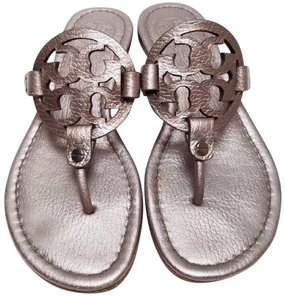 Tory Burch Bold Logo Upper Rubber Sole Metallic Style No.51138205 Pewter Sandals