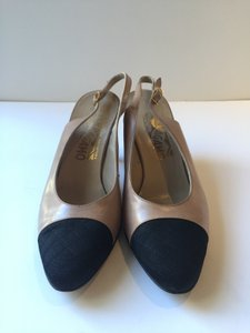 Salvatore Ferragamo Chanel Style Slingback Satin Toe Quilted Toe Tan/Black Pumps